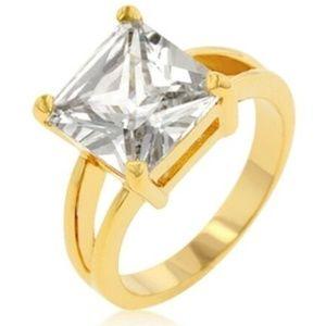 Gold Engagement Cocktail Ring Size 8 10 PrincessCZ